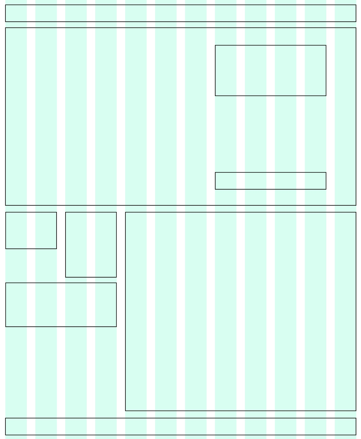 A wide-screen wireframe with different sizes