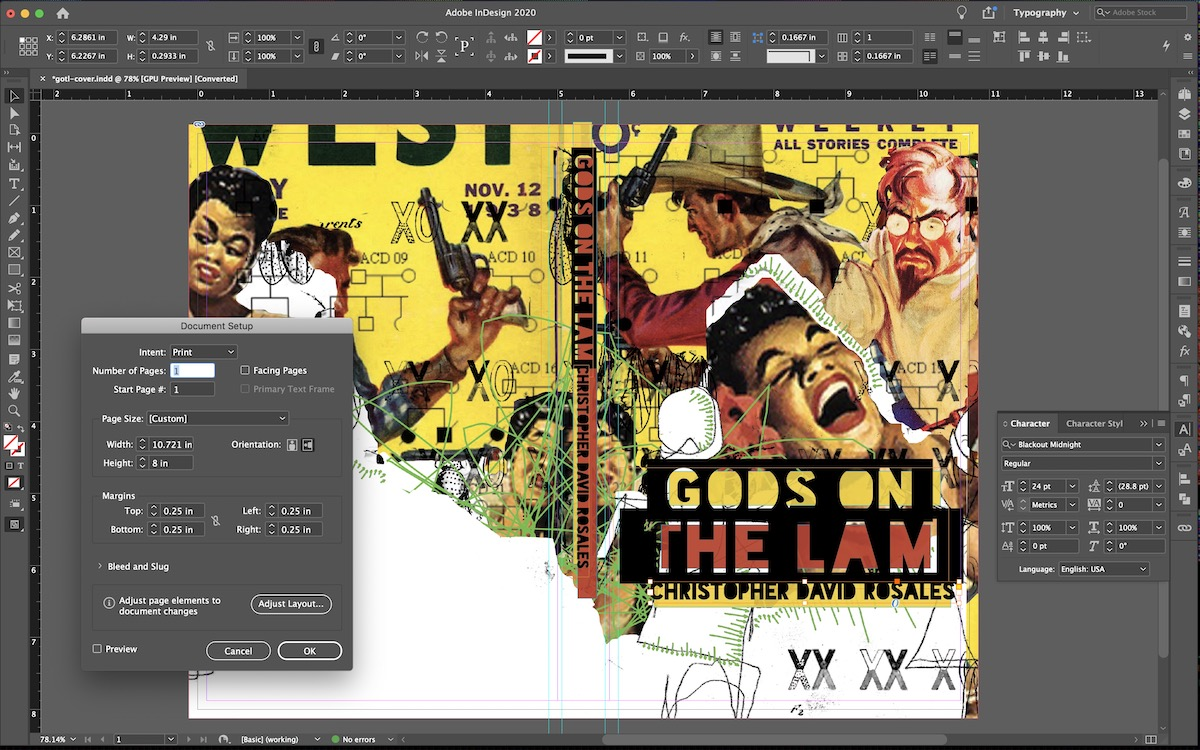 InDesign book-cover layout