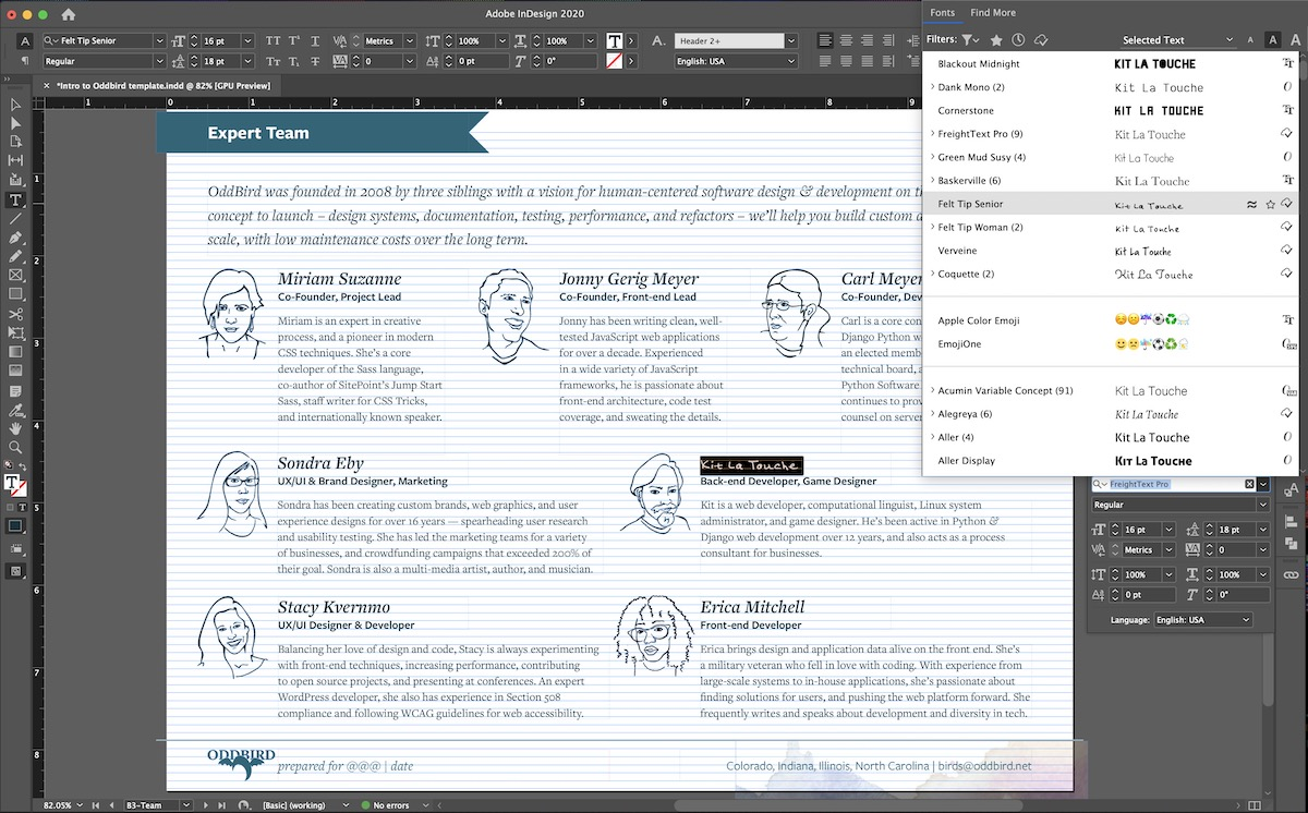 InDesign heading pattern, one selected heading has a different font