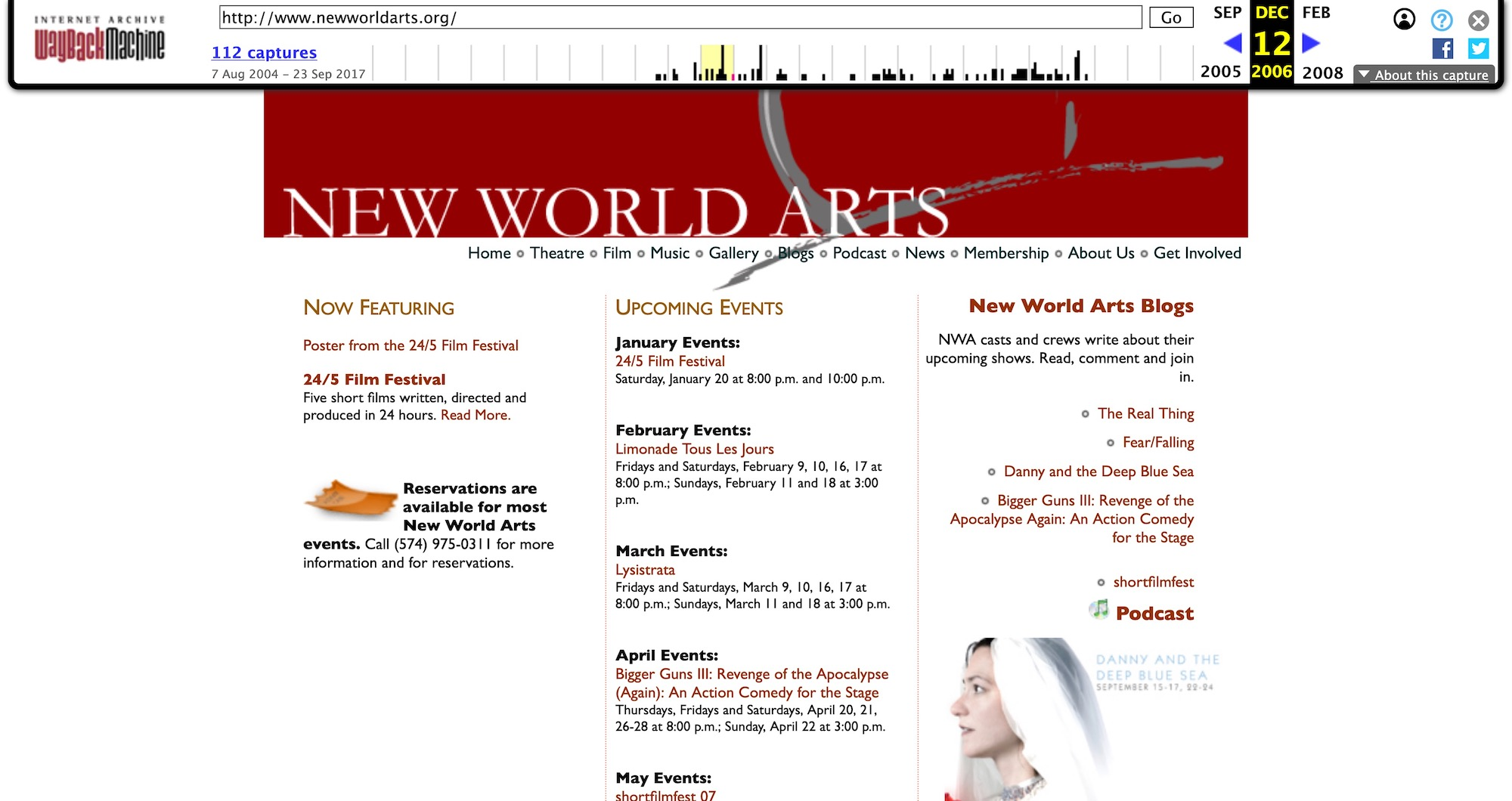 2006 New World Arts website on the wayback machine