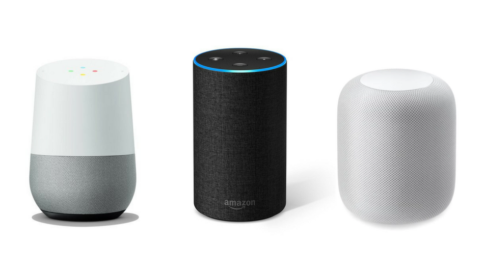 Google Home, Amazon Echo, and Apple HomePod